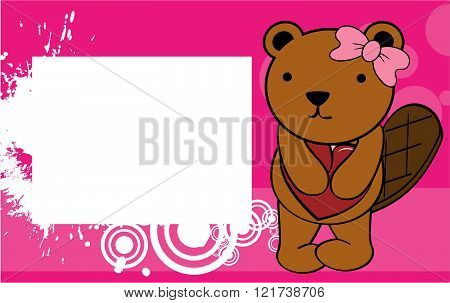 cute beaver girl valentine background card