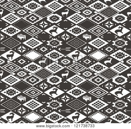 Seamless colorful navajo pattern with rhombus. Pencil Drawing