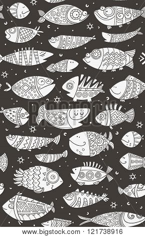 Sea seamless pattern with decorative fish in childish style