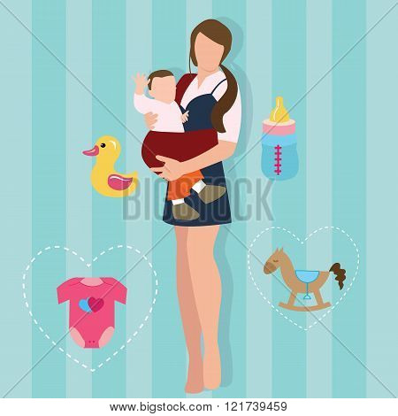 woman mother holding carrying baby carrier child with sling  love parent new mom