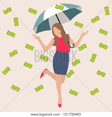 woman umbrella money rain dollar cash rich lucky success business flat vector illustration concept