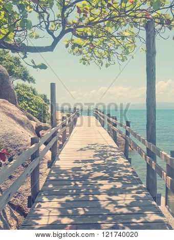 wooden bridge along  sea coast