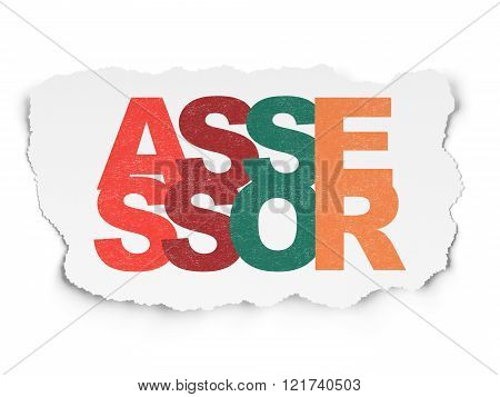Insurance concept: Assessor on Torn Paper background