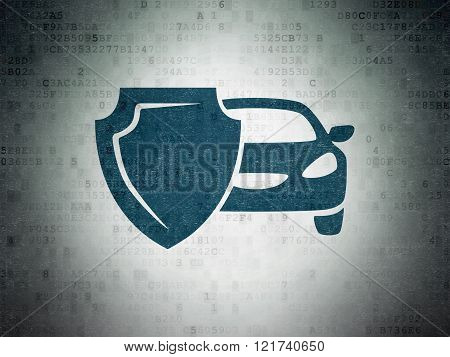 Insurance concept: Car And Shield on Digital Paper background