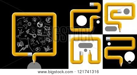 Business and Education Template with pencils curved in different forms with places for text on black and white