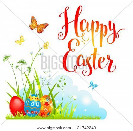 Spring Easter card for design card, banner,ticket, leaflet and so on.Template page with handwritten inscription Happy Easter. Holiday card. Place for text.