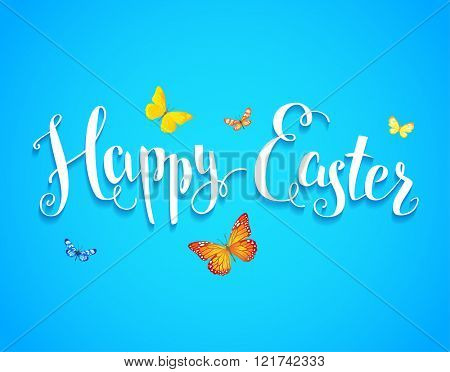 Easter and butterfly handwriting inscription. Easter bright card for design card, banner,ticket, leaflet and so on.Template page with handwritten inscription Happy Easter. Holiday card.