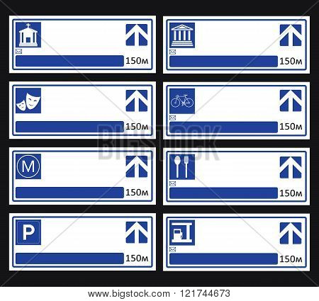 Blue Directional Road Sign.