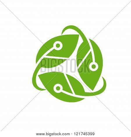 modern legant ecology tech nature logo concept