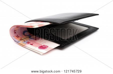 wallet with RMB 100 paper currency with clipping path