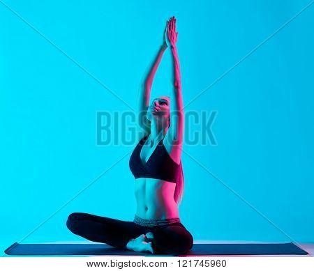woman yoga exercices Padmasana Lotus position