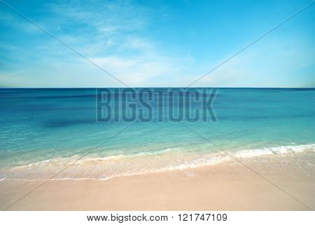 Nature Background, Clear Water And Blue Cloudy Sky Pastel Colors
