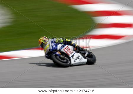 KUALA LUMPUR, MALAYSIA - OCTOBER 9: Valentino Rossi, Italy in action at the qualifying session of the 2010 Malaysian Motorcycle GP on October 9, 2010 at the Sepang International Circuit, Kaula Lumpur, Malaysia.