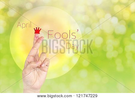 Lovely couple fingers in symbol of lie or April fool day on sweet glow bokeh background