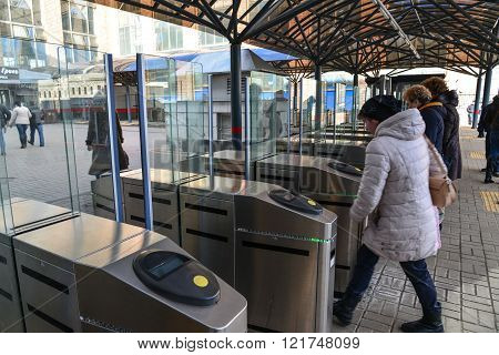 Moscow, Russia - March 14. 2016. Turnstiles at the entrance to the commuter train at Leningradsky railway station