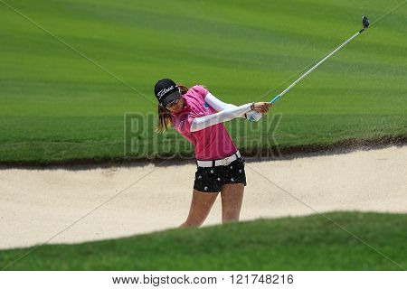 PATTAYA THAILAND - February 27 2016: Pannarat Thanapolboonyaras of Thailand plays the shot of the 2016 LPGA Thailand at Siam Country Club in Chonburi.