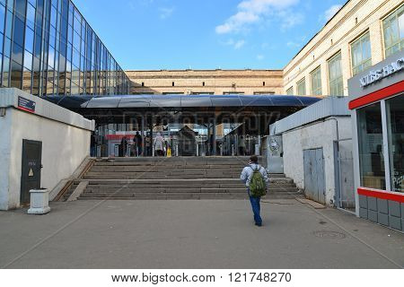 Moscow, Russia - March 14. 2016. entrance to the commuter train at Leningradsky railway station