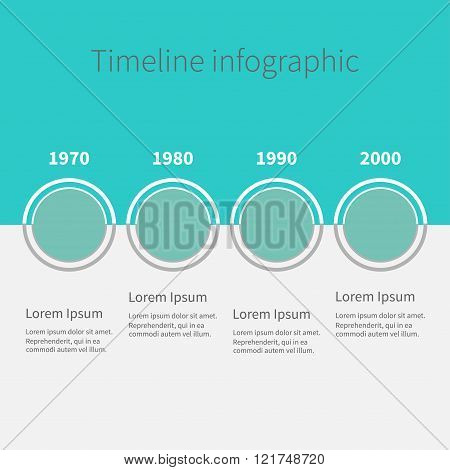 Timeline Infographic. Four Step Template. Blue And White. Flat Design.