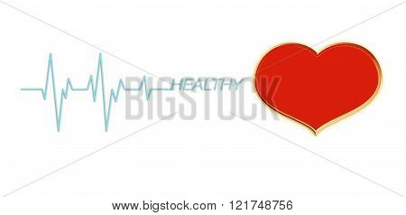 Red heart with pulse or heart beat and text healthy on for health background with copy space