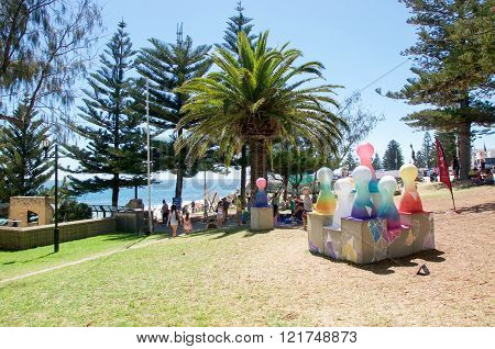 COTTESLOE,WA,AUSTRALIA-MARCH 12,2016:  Modern art sculpture on the foreshore at the interactive free public arts festival