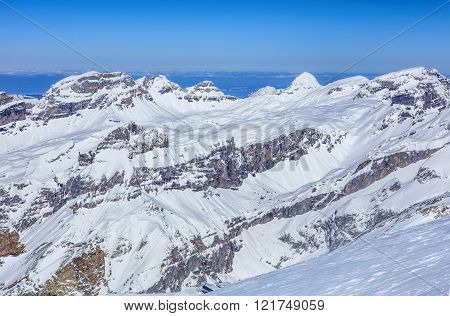 Alps, View From The Top Of Mt. Titlis In Switzerland