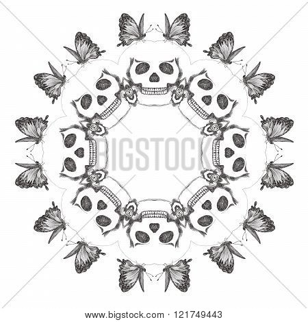 Gothic circular ornament with skulls and butterflies