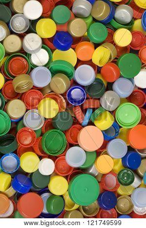 Colorful Plastic Caps Background Texture