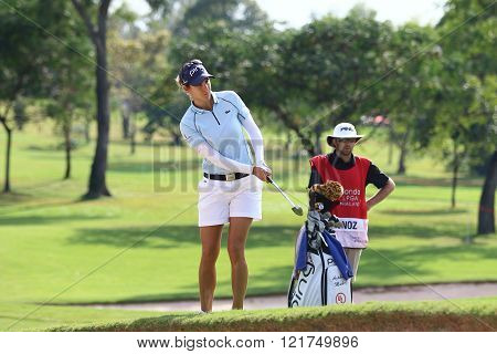 PATTAYA THAILAND - February 27 2016: Azahara Munoz of Spain plays the shot of the 2016 LPGA Thailand at Siam Country Club in Chonburi.