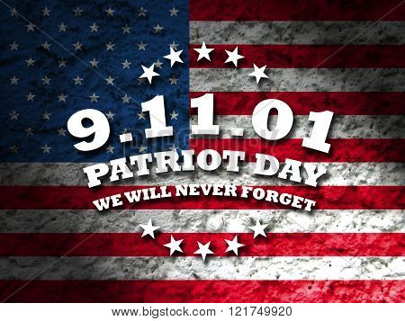 America Patriot Day - september 11 2001 card with american flag grunge style background