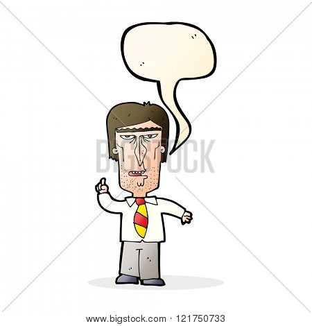 cartoon grumpy boss with speech bubble