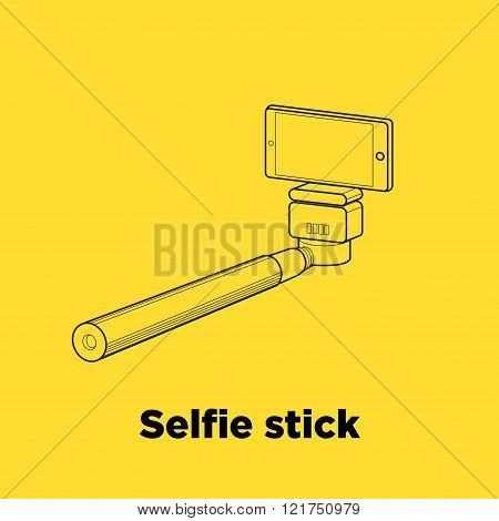 Selfie Stick Line Vector Icon On The Yellow Background