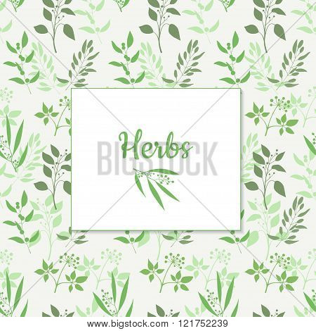Seamless green plant background with square frame . Endless pattern with green twigs and leaves silh