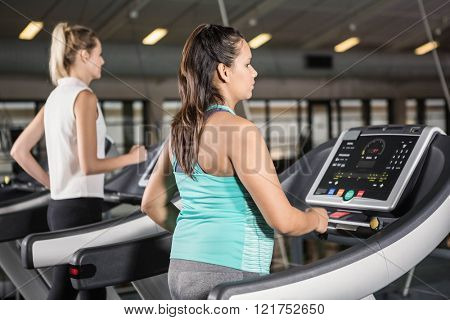 Women exercising on treadmill in the gym