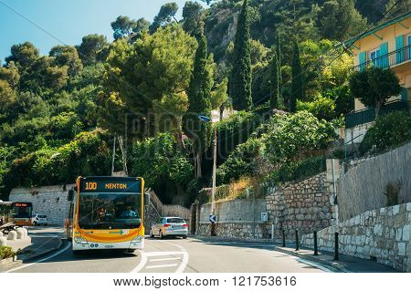 Traffic on in suburbs of city of Eze in France.