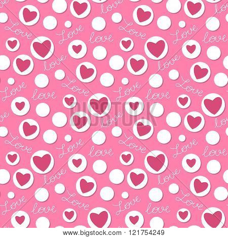Seamless Polka Dot Pattern With Hearts