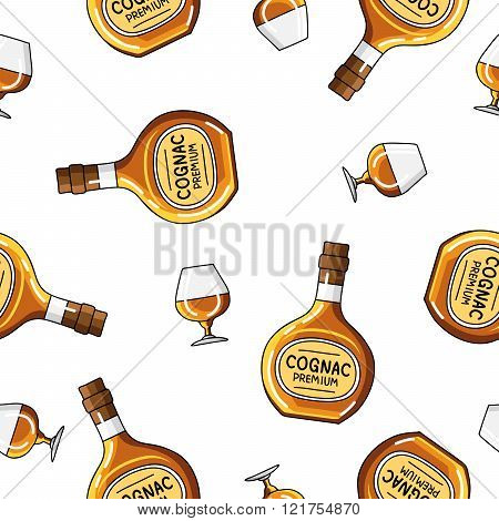 Seamless Vector Pattern Of  Bottles And Glasses Of Brandy