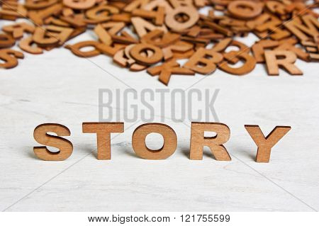 Word Story Made With Wooden Letters