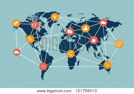 World map vector flat blue infographics