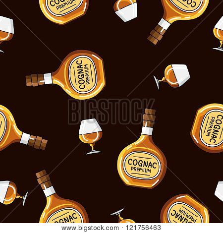 Seamless Vector Pattern Of Brandy Bottles And Glasses
