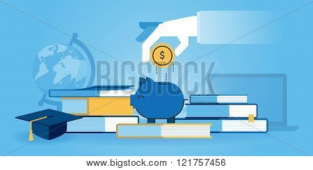 Flat line design website banner of investment in knowledge, student loans, scholarships