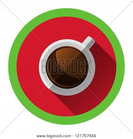 modern flat icon with white cup of hot coffee and shadow