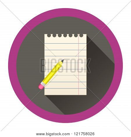modern flat icon with sheet of paper and pensil wiwth eraser and shadow