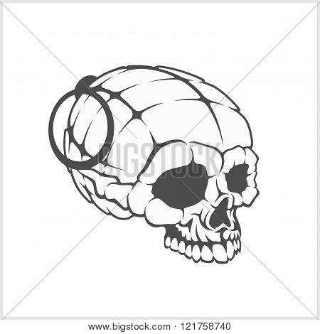 Military skull - grenade in the form of a skull.
