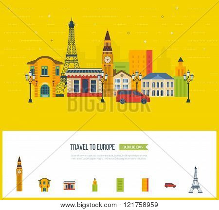 London, United Kingdom and France flat icons design travel concept.