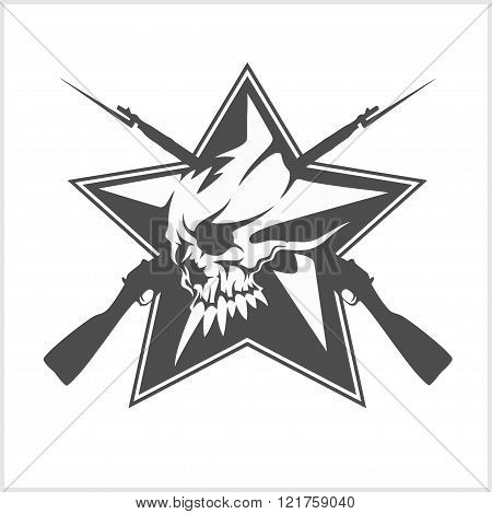 Soviet star in the form of a skull isolated on white