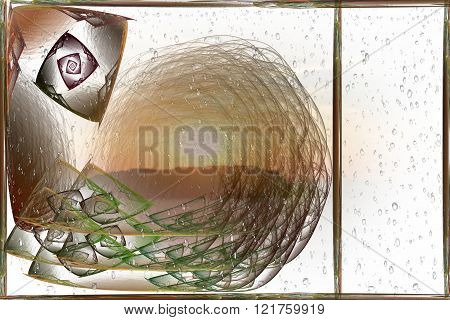 Fractal card Snail in the rain with a separate space for the text on a white background.