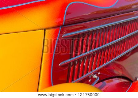 Close Up Of The Flames On A Vintage Hot Rod on detail