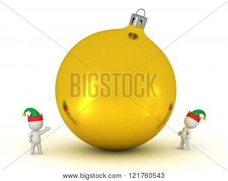 3D Characters With Elf Hats Looking Up At Large Golden Decorative Globe