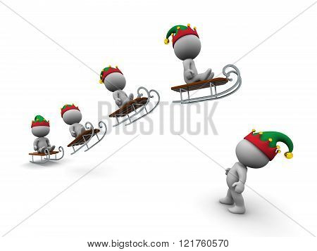 3D Character With Elf Hat Looking Up At Characters Flying With Sleds