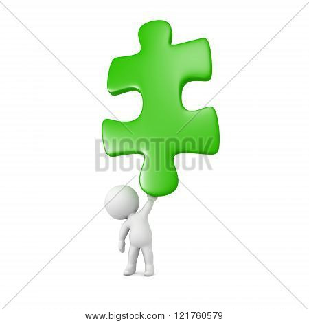 3D Character Holding Very Large Puzzle Piece